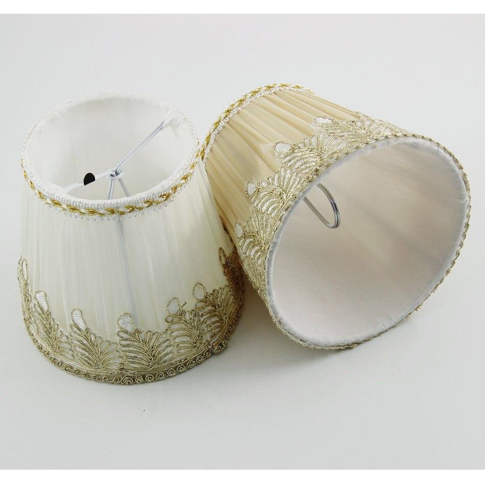Mini lamp shades - Dia 13 5cm 5 31 Inch Gauze Fabric Mini Lamp Shades Brown Color White