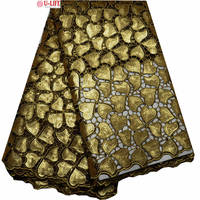 Double Organza Lace Fabrics High Quality Gold Sequins Embroidered Organza Fabric Eco Friendly For Sewing African