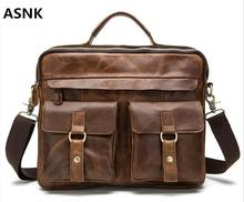 Genuine Leather Men Bag Crazy Horse Leather Men's Handbags Casual Business Laptop Shoulder Bags Briefcase Messenger bag NEW