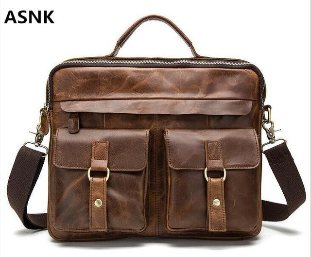 Genuine Leather Men Bag Crazy Horse Leather Men's Handbags Casual Business Laptop Shoulder Bags Briefcase Messenger bag NEW