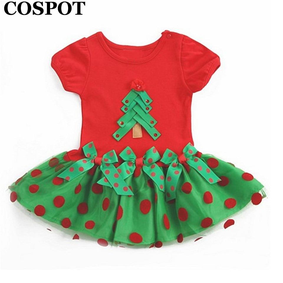 COSPOT Baby Girls Christmas Tutu Dress Girl's Short Sleeve Merry Christmas Dress Newborn Cotton Dot Casual Dresses 2018 New 26E