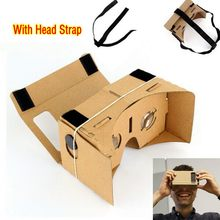 DIY Google Cardboard Virtual Reality Glasses VR Mobile Phone 3D Viewing Glasses for 5.0″ Screen Or With Head Mount Strap Belt
