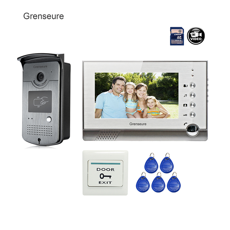 FREE SHIPPING BRAND 7 Home Video Intercom Door phone Recoder System 1 Monitor + RFID Card Reader Door Intercom Camera WHOLESALE free shipping brand new 7 home video intercom door phone system with recording monitor rfid card reader door camera wholesale