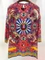100% шелк женщин блузка топы новый 2016 осень-весна винтаж мода воин печати 3/4 рукав симпатичные красные блузки