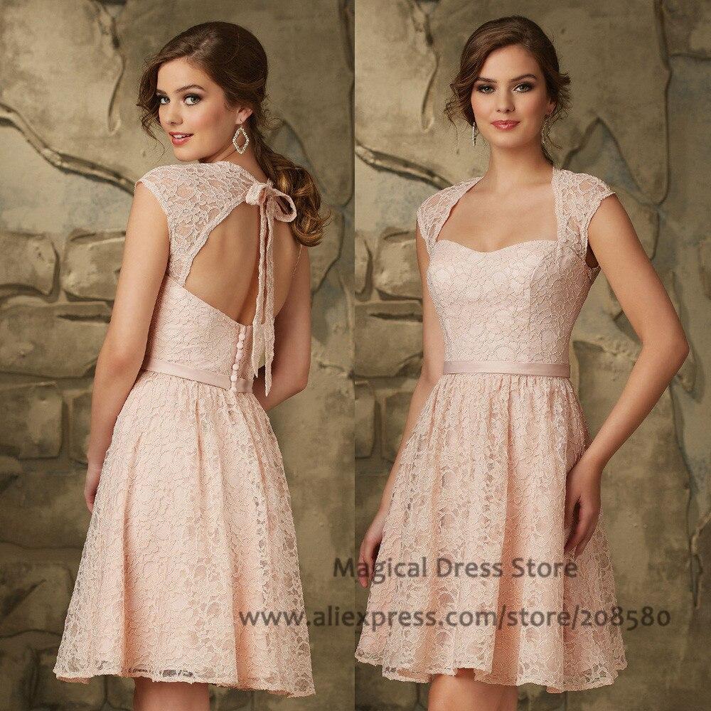 Aliexpress.com : Buy Vintage Pink Short Lace Bridesmaid Dress Open ...