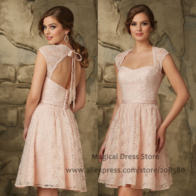 Pink Lace Wedding Guest Dress : Aliexpress buy vintage pink short lace bridesmaid