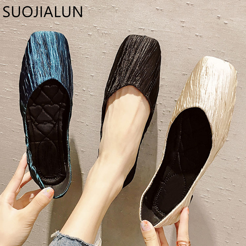 SUOJIALUN Brand 2018 New Ladies Flat Shoes Square Toe Ballet Flats Casual Slip On Shoes Woman Comfort Autumn Women Shallow Flat sequin glitter ballet flat shoes women blue colorful square toe bow knot slip on sequined ladies wedding spring autumn flats
