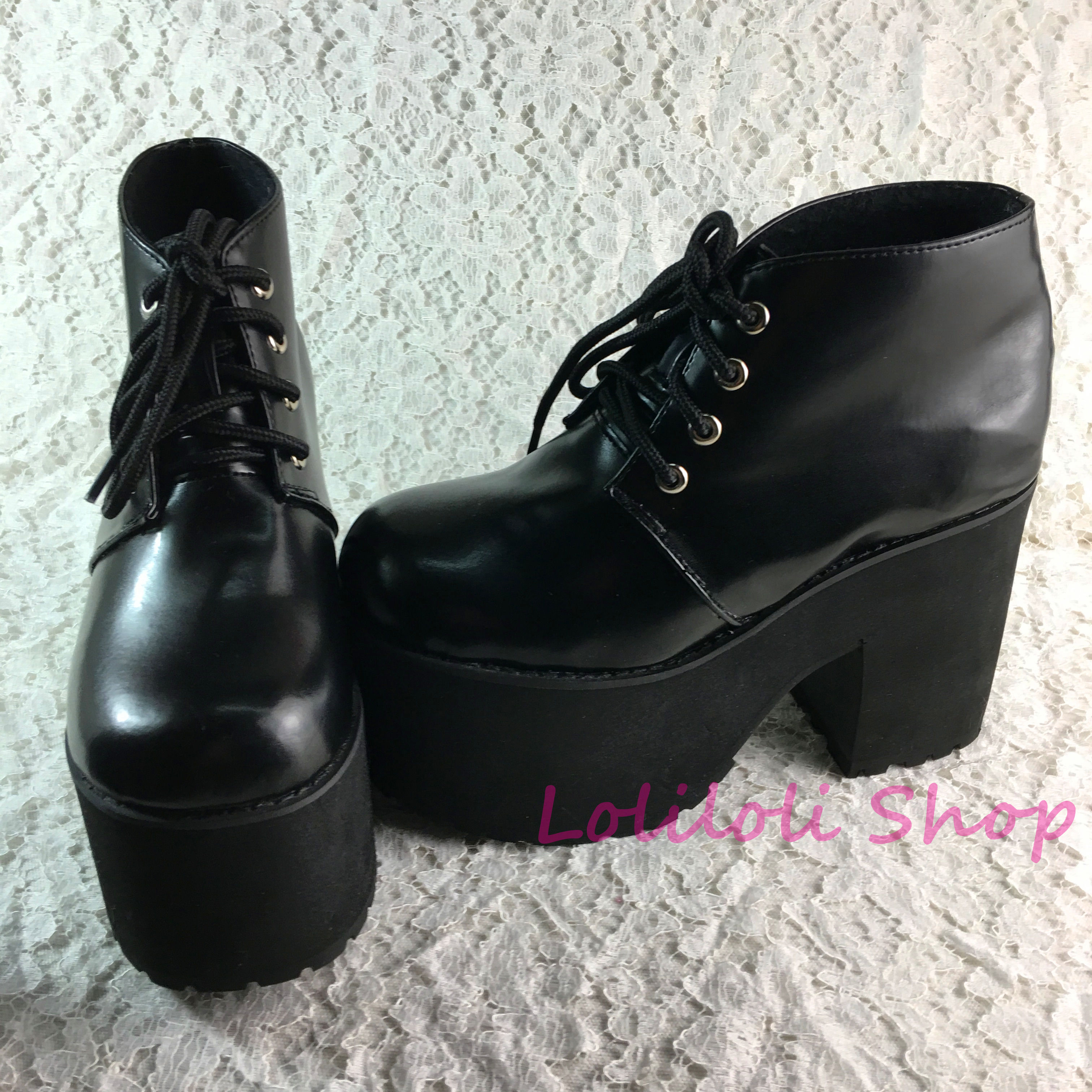 Princess sweet gothic lolita shoes Loliloliyoyo antaina Japanese design black bright skin cross lacing thick heel shoes 4171s