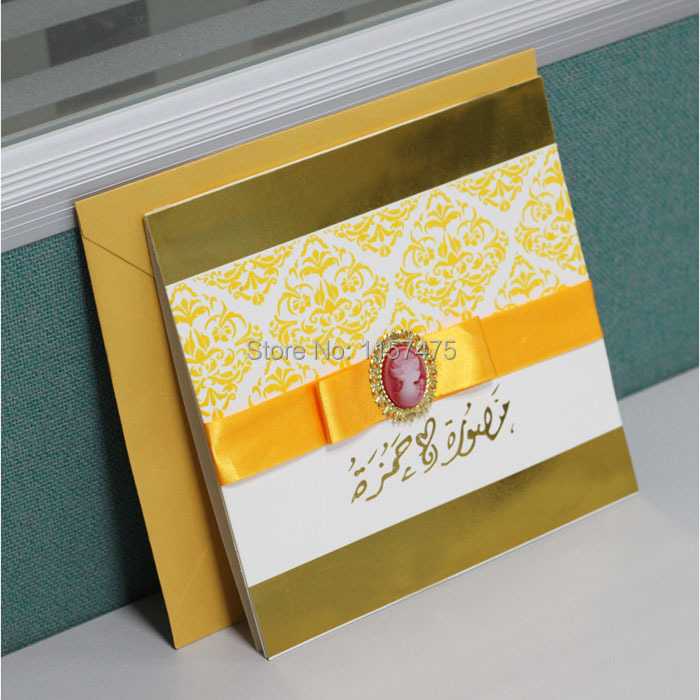 HI6006 Customized Gold Wedding Invitation Cards with Yellow Gold ...