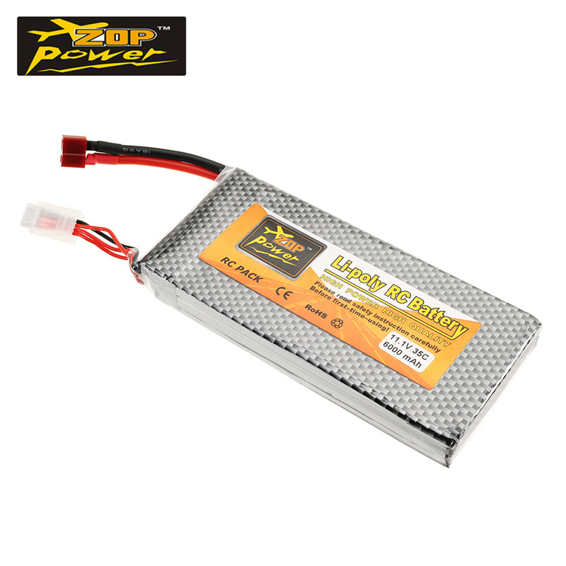 ZOP Power 11.1V 6000mah 35C 3S Lipo Battery T Plug for RC Quadcopter AKKU Bateria For FPV Racing Drone Helicopter Spare Parts 2018 rechargeable zop power 7 4v 1000mah 2s 25c lipo battery jst plug connector for rc drone fpv quadcopter diy toys spare parts