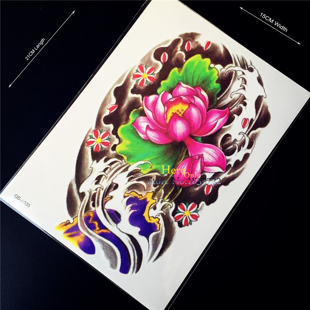 1PC 3D Lotus Design Fake Flash Tattoo Sticker, Body Art Arm Sleeve Tattoo Paste Women, Sexy Men Armband Chest Back Shoulder Legs