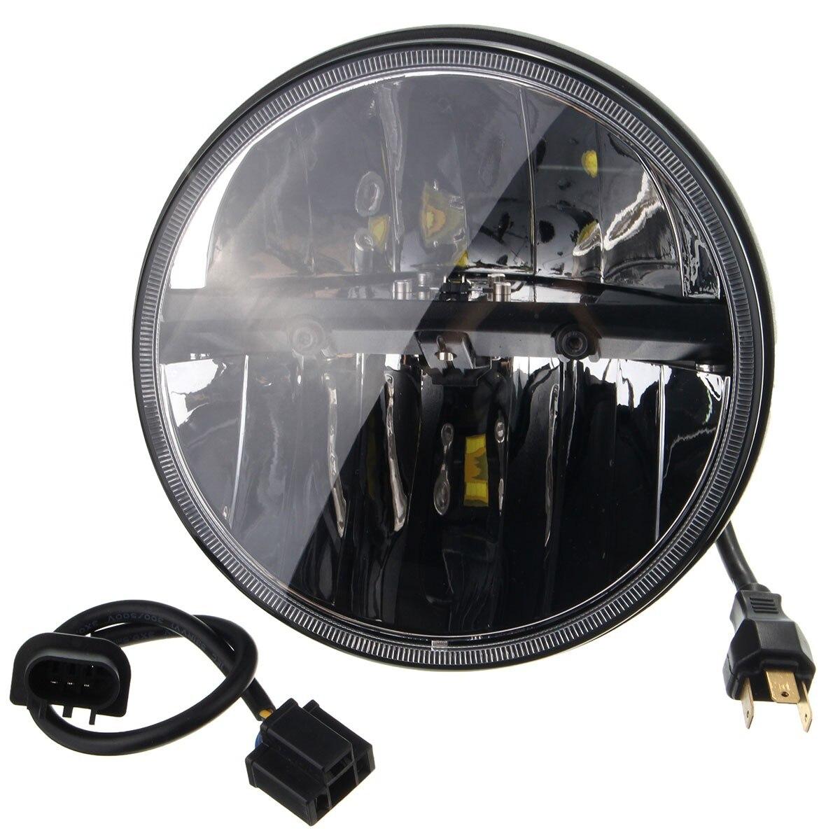 ФОТО 2PCS 7 Inch Chrome Motorbike Hi/Lo LED Round Headlight For Harley Projector for Jeep Light Lamp Bulb