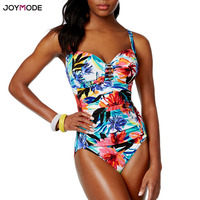 JOYMODE Monokini Swim Suits Floral One Piece Bodysuit 2018 Plus Size Beach Wear Women Brazilian Swimwear