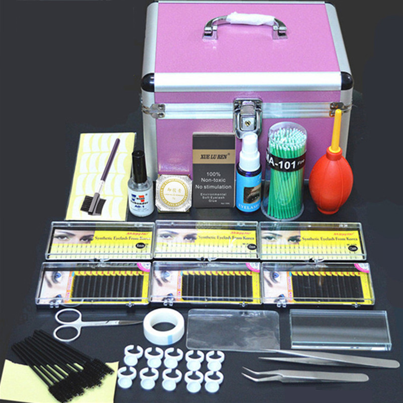 Professional Portable Eyelashes Extension Kit Beauty Grafting Eyelash with Box Case for Beauty Salon Makeup new professional eyelashes extension kit false eyelash lashes makeup set with silver box case salon tool