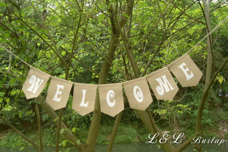 Welcome burlap banner rustic welcome sign country home - Decoracion country chic ...