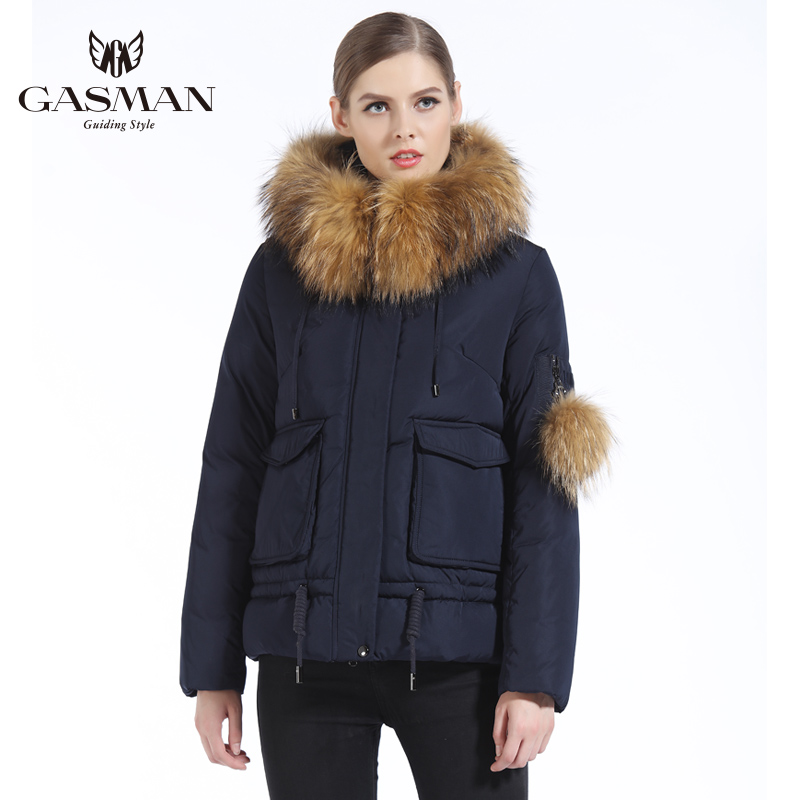 GASMAN 2019 New Winter Parkas Women Short Female Hooded Down Jackets And Coats Winter Thick Coat Natural Fur Collar Raccoon 3XL