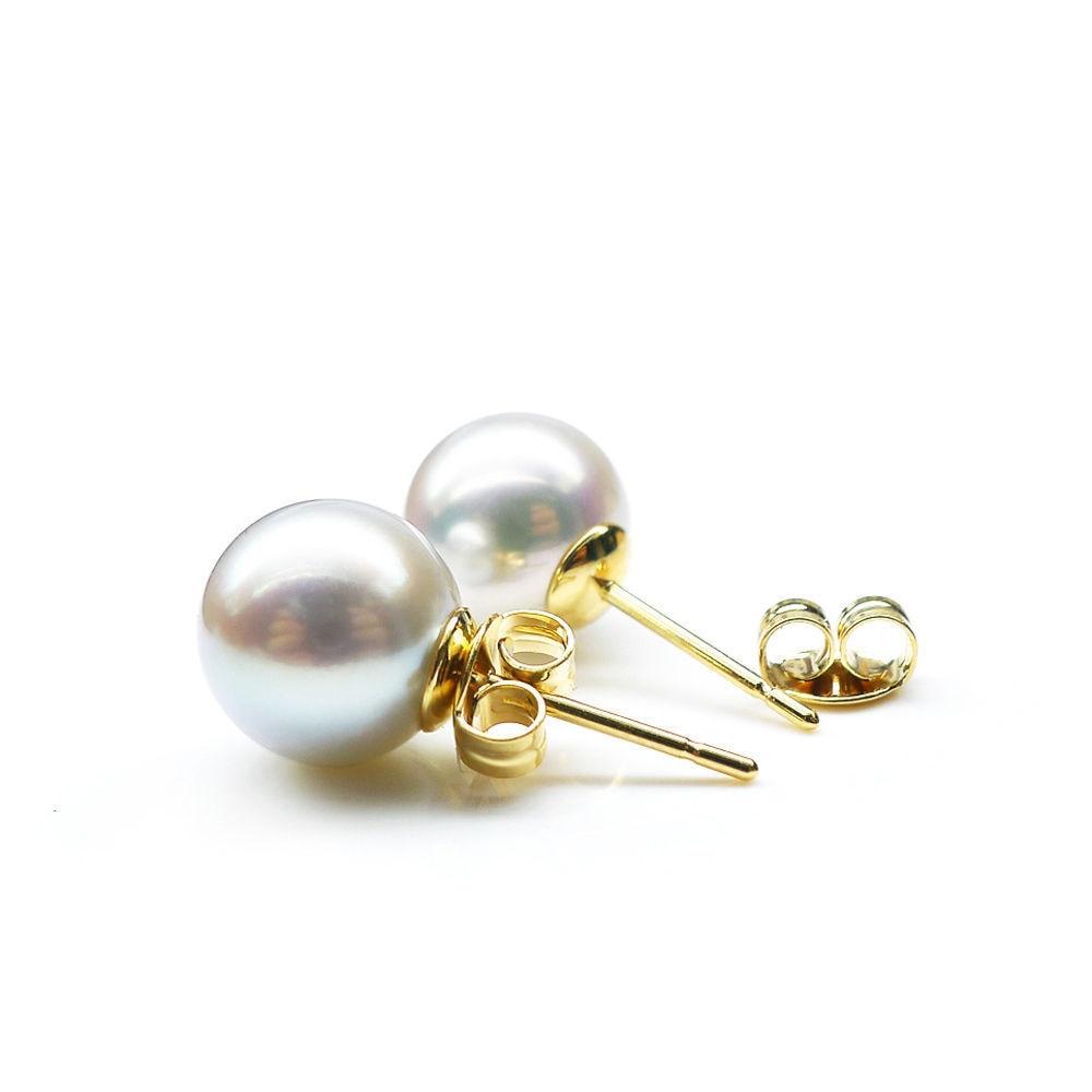6.5 8mm AAA Natural Color Genuine Akoya Pearl Ear Stud Earrings Solid Gold