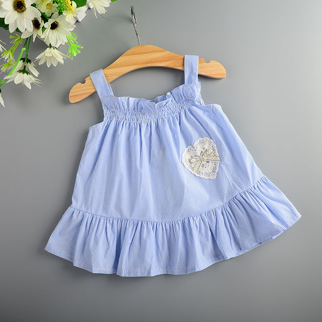 2016 summer baby strap dress lovely striped girls infant dress for toddler tutu dress for party clothes newborn vacation dress