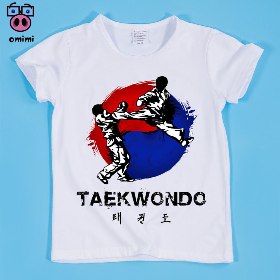 Ready Stock,Size(90-160cm) Children's Taekwondo Design Print T-shirt Kid Clothing Boy and Girl Taekwondo Tee Shirt Baby Tops