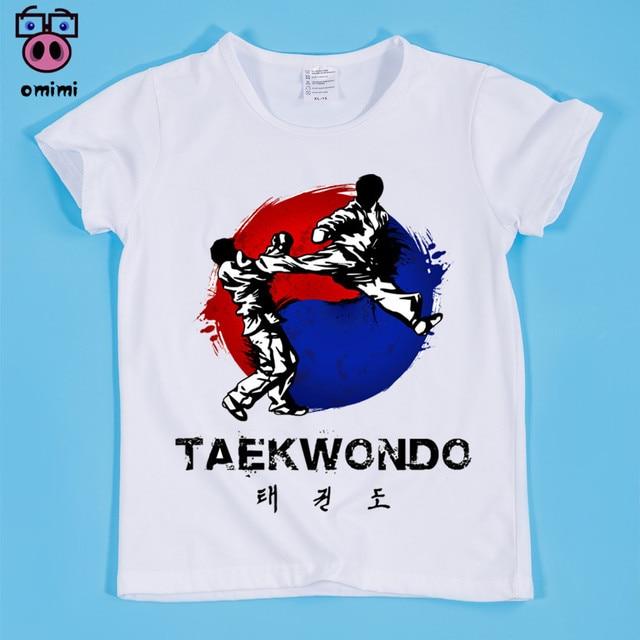 Stock listo, tamaño (90-160 cm) camiseta con diseño de Taekwondo para niños, ropa para chico, camiseta de Taekwondo para niños