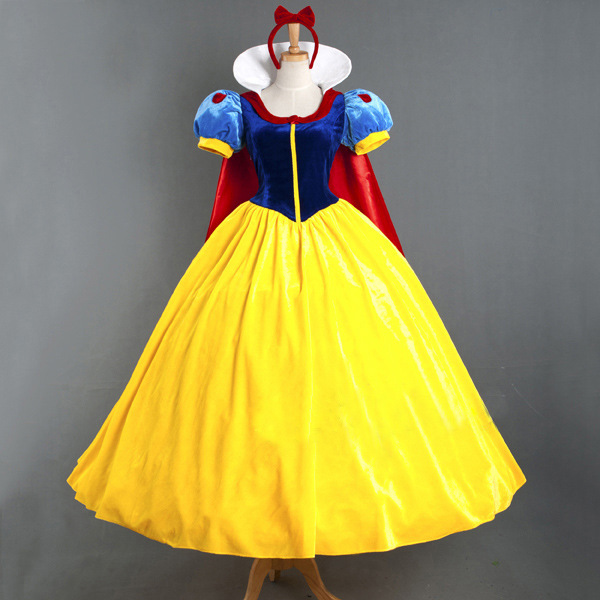 S-XXL Adult Deluxe Snow White Costume Fairytale Snow Princess Cosplay Fancy Dress Halloween Party Gown