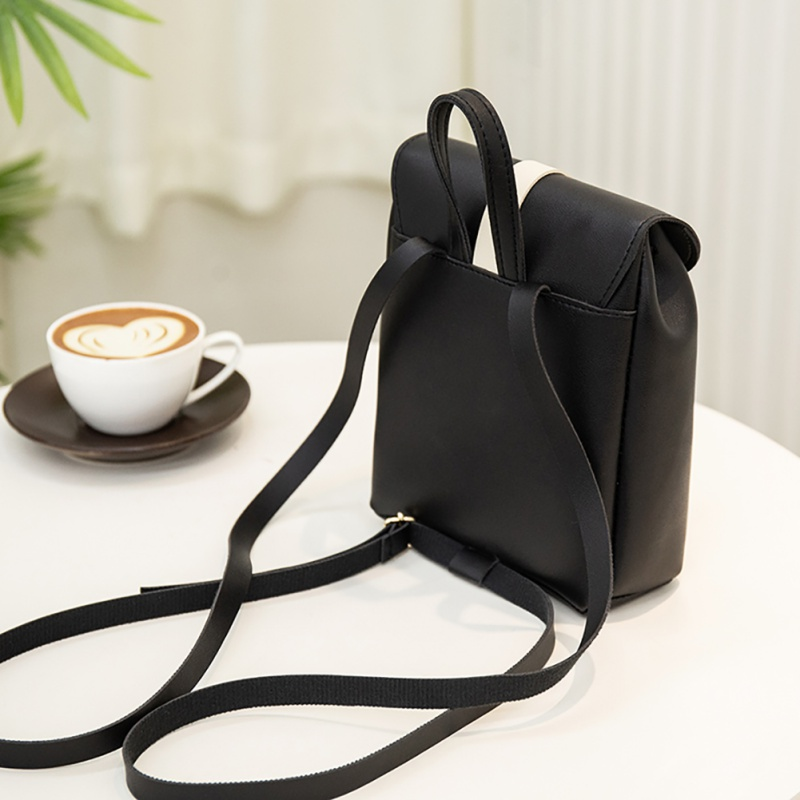 2019 New Black White Matching PU Leather Woman 39 s Backpack Casual Multi function Cover Type Drawstring Crossbody Shoulder Bag in Backpacks from Luggage amp Bags
