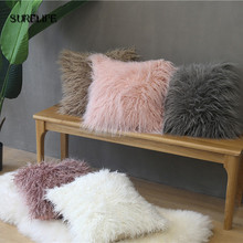 Cute Nordic Plush Pillowcase wool Faux Fur Cushions ins sofa furry Long Hair Cushion Princess Pillow bed Sofa Decor