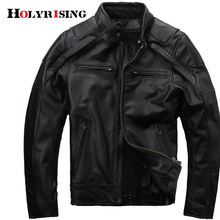 Men Genuine Leather Jackets Stand Collar Cow Leather Black C