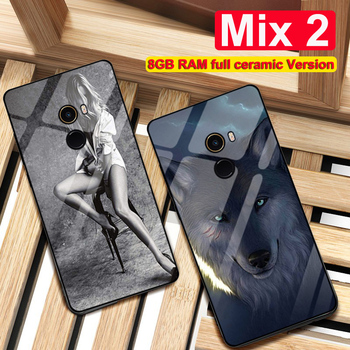 For xiaomi mi mix 2 case 9H real glass + silicone back cover for Xiaomi Mix 2 mix2 case 8GB RAM full ceramic Version Special 8G