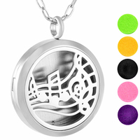IJP0130 Hypo Allergenic 316L Surgical Grade Stainless Steel Music Pattern Aromatherapy Essential Oil Diffuser Necklace