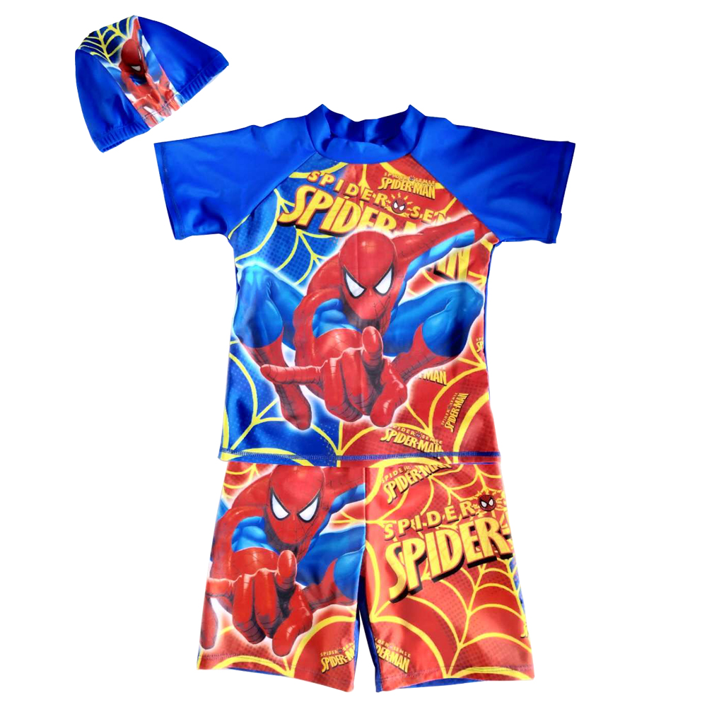 890e28a0cd Boys Sun Safe Swim Suits Super Hero Three 3 Piece Swim Wear Sets Swimming  Shirt Children Swimwear Hat Little Boy Beach Swimsuit-in Body Suits from  Sports ...