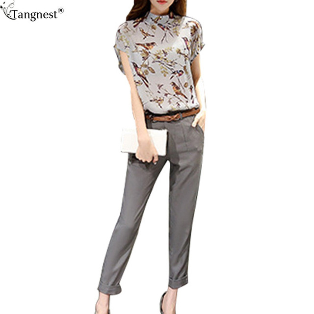 a794ad2029 TANGNEST Flower Printing Summer Women Suits Sets 2016 Fashion Chiffon Women  Shirt+Pants Sets For Lady OL Casual 2 Piece WCX1135-in Women's Sets from ...