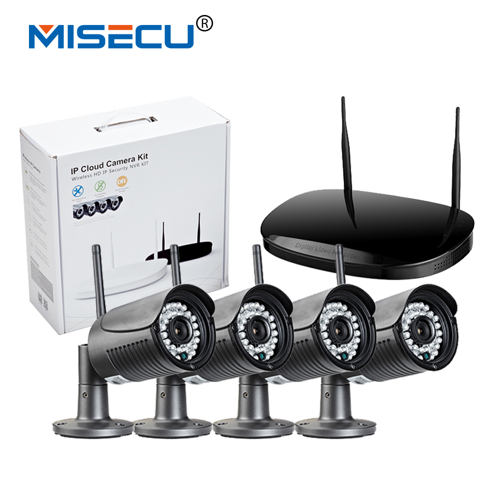MISECU Plug-Play Wireless NVR Kit P2P 720P 1080P HD Outdoor 36pc IR Night Vision Security Wifi IP Camera CCTV System Retail pack  anran plug and play 4ch security camera system wireless nvr kit p2p 720p hd outdoor ir night vision cctv ip camera system