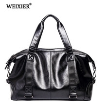 WEIXIER 2019 Hot Mens Fashion Handsome PU High Quality Large Capacity Long Distance Travel Handbag Solid Color Casual