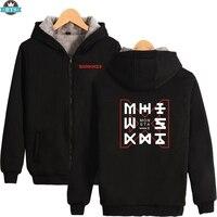 2018 Monster X Thick Winter Warm Hoodie Sweatshirt Zipper Fashion Jacket High Quality Coat Sweatshirt Cotton Oversized Hoodies