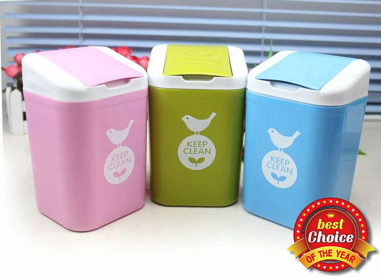 Home Improvement Small Plastic Trash Can Fresh Garbage With Lid Desktop Creative Square