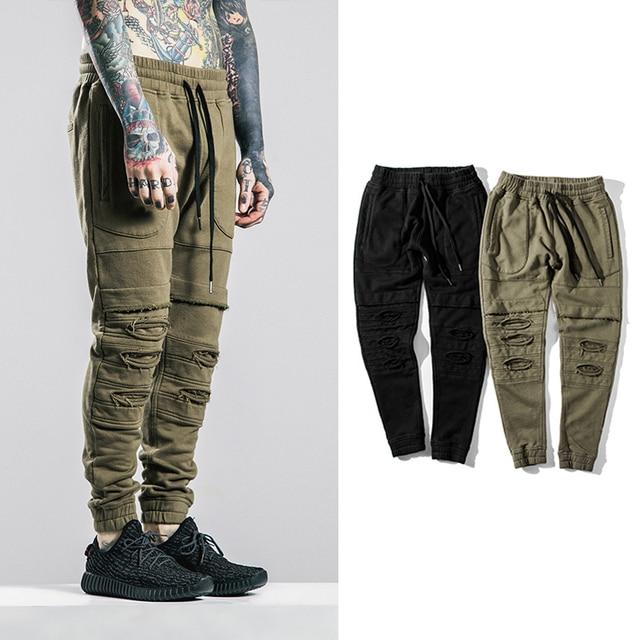 2016 Corredores Biker Slim Fit Pitillo pantalones Deportivos Pantalones Harem Hombre Ropa Swag de Hip Hop Ropa de Hombre ArmyGreen Oeste Hombres Pantalones