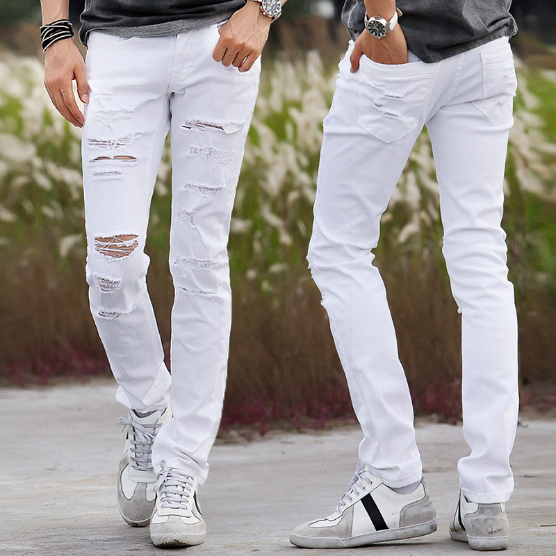 Aliexpress.com : Buy New White Ripped Jeans Men With Holes Super