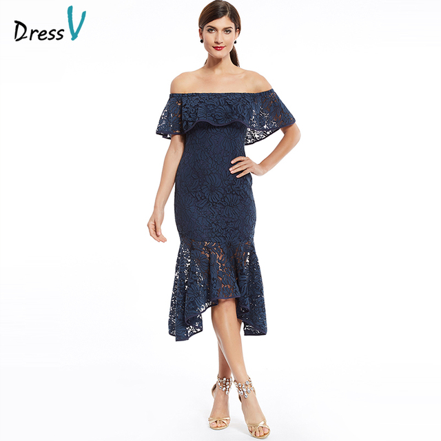 Dressv Dark Navy Lace Cocktail Dress Off The Shoulder Ruffles