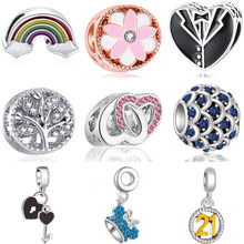 Big Jewelry Cute Ball Rainbow Clothes Hat Family Tree Crystal Charms Beads Fit Original Pandora Bracelets for Women DIY Trinket(China)