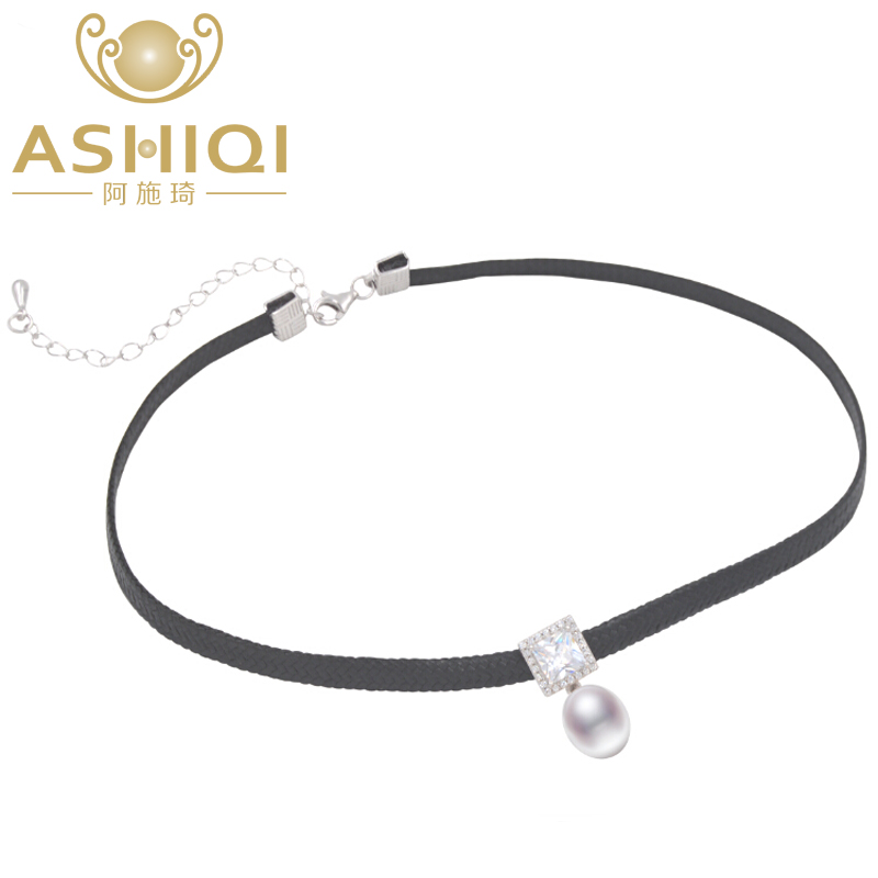 ASHIQI Natural Freshwater Pearl Choker Necklace 34cm + 6cm High Quality 925 Silver Rope Chain For Women