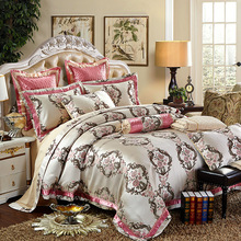 noble royal style bedding collection golden bedspread linens silk satin cotton jacquard Queen/King Size bed in bag