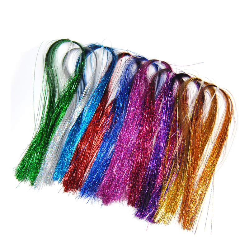 [8PCS] Assorted Mix Random Color Holographic Flat Krystal Flash for Fly Tying Fishing Material Streamer Crystal Line Green Red
