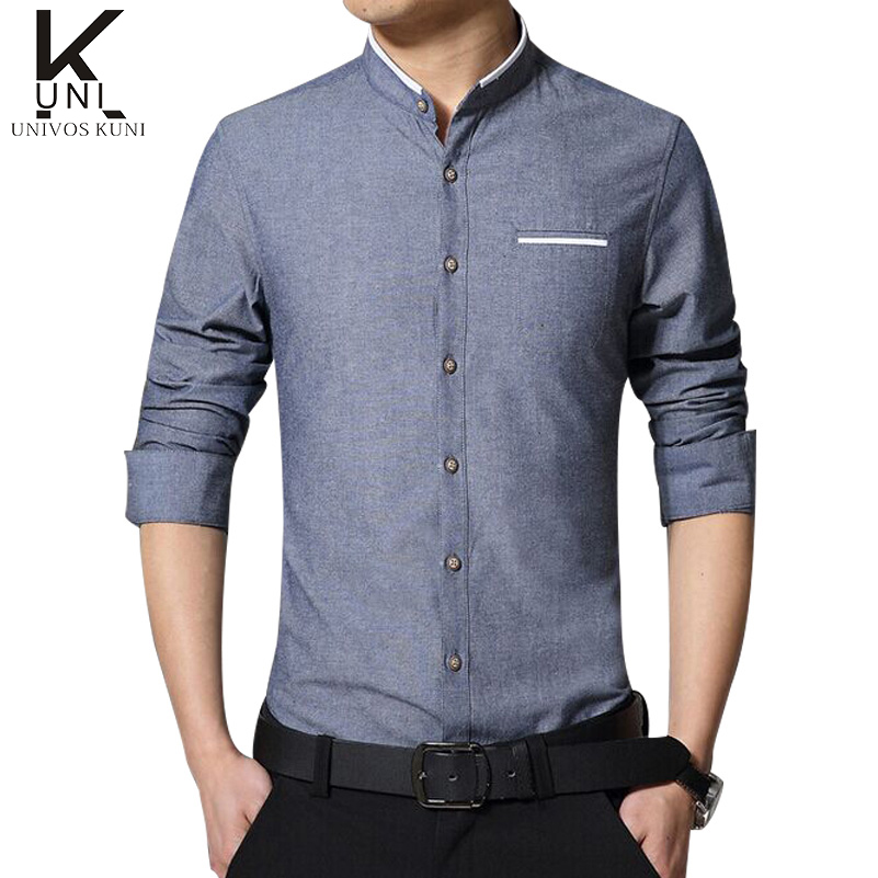 New Arrival Shirts Men Stand Collar Slim Fit Button Pocket