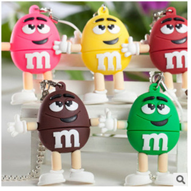 Usb Flash Drive Cartoon Chocolate M&M Flash Memory Card Pen Drive 32GB Usb Stick 64G Pendrive 128GB 16G 8G Flash Drive Best Gift