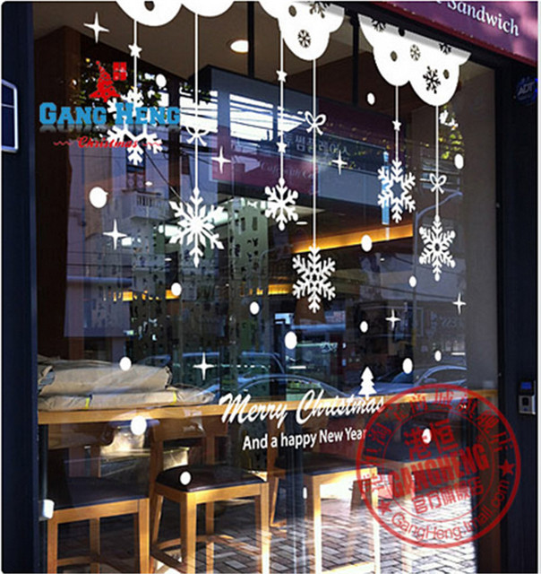 snowflake window sticker new year christmas decoration for home restaurant mall glass wall stickers free shipping - Restaurant Christmas Decorations