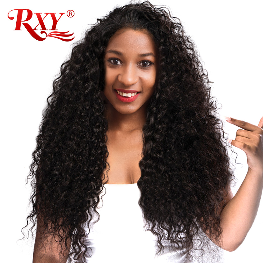 RXY Lace Front Human Hair Wigs for Black Women Kinky Curly Lace Front Wig With Baby Hair 180% Brazilian Wigs Pre Plucked Nonremy