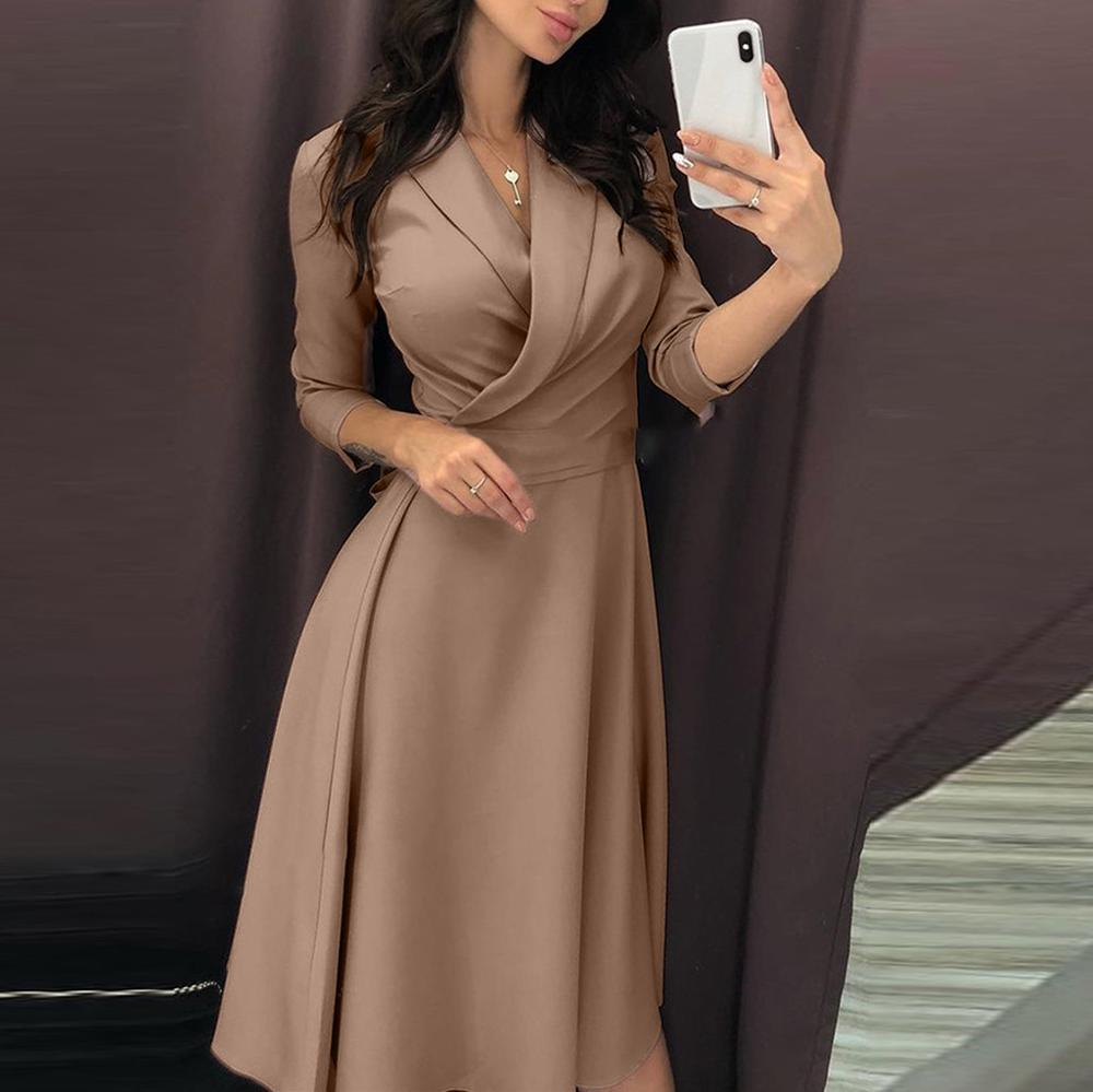 Women's Shirt Dress Solid Color Turn-down Collar V-Neck High Waist Long Sleeve Dresses Ladies Casual Lace Up Dress #20