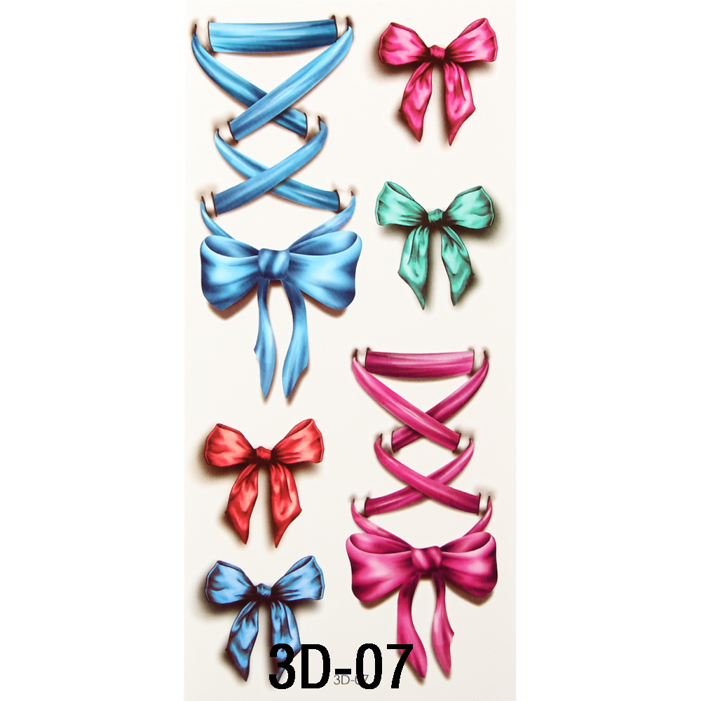10 Sheet Body Art Beauty Makeup Pink and Blue Bow On Hand Waterproof Temporary Tattoo Stickers Sexy