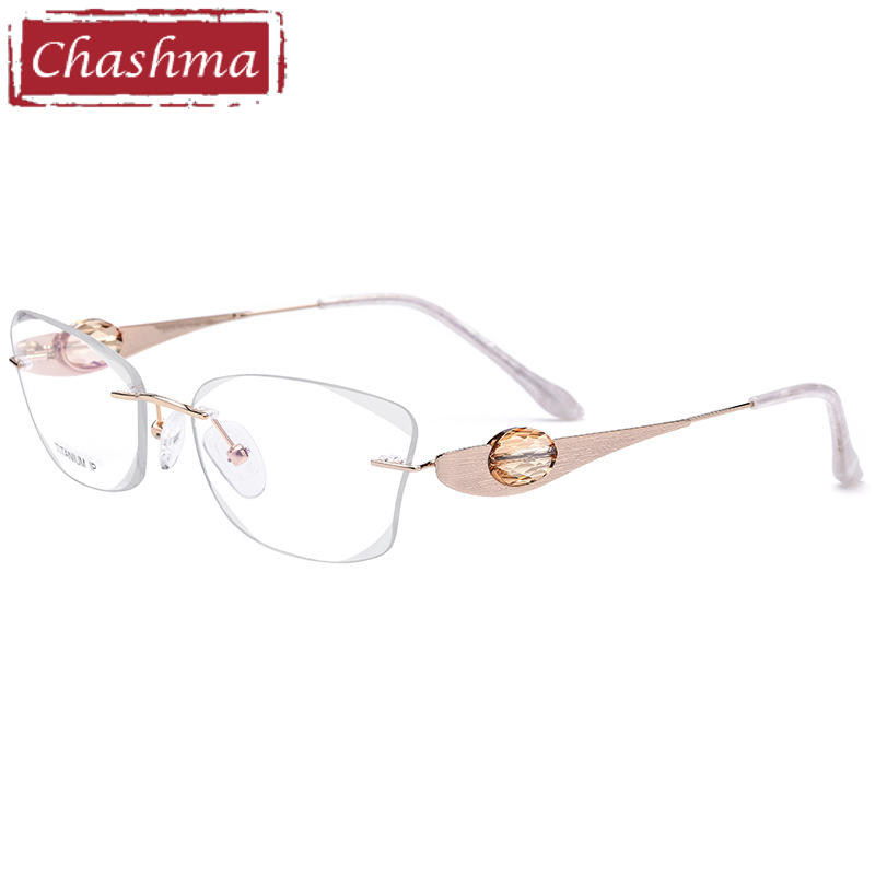 Chashma Brand Women Top Quality Rimless Glasses Frame Prescription Spectacles Female Fashion Clear Color Lenses with Stones